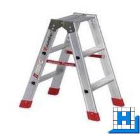 Doppelstufen-Stehleiter Gr. 2x3, verstärkte Ausführung, Höhe: 0,70 m