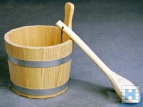 Aufgusskübel 5L mit PE-Einsatz, Holzgriff, Lärche roh