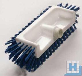 Eckenschrubber, Borstenflächen unten,vorn,seitlich, PBT blau, Ø 0,50mm mittel, 320x125x40-50mm