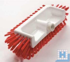 Eckenschrubber, Borstenflächen unten,vorn,seitlich, PBT rot, Ø 0,50mm mittel, 320x125x40-50mm