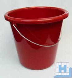 Haushalts-Eimer rot 10 L, Ø28,5cm H=27,5cm Metallbügel