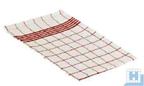 Geschirrtuch Baumwolle, rot/weiß, 50x70cm, 10 Stck/VE