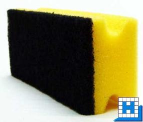 Vliesschwamm gelb/Pad schwarz 150x70x45mm mit Griffleiste