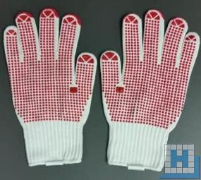 Baumwoll-/Nylon-Grobstrickhandschuh, Gr. 9, beige, einseitig rote Noppen, EN 388, Kat.2