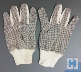 Handschuhe mit Grip-Noppen auf der Innenhandfläche, 100% Baumwoll-Körper, rohweiß, Strickbund, Gr. 10, 240 Paar/Kart