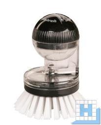 Knopfbürste mit Spülmittelspender, Nylon 6,6 weiß, Ø 0,40mm, mittel, 90xØ65x20mm