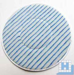 Mikrofaser-Pad Ø 406/410mm weiß/Streifen blau
