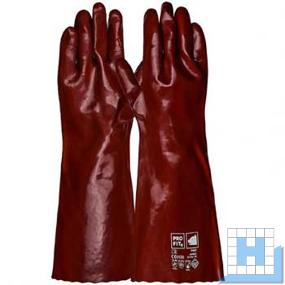 PVC Handschuh 45 cm rotbraun Kat III EN 388 Level 4.1.2.1. EN 374-3 A.K.L.
