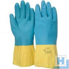 Handschuh, gelb/blau Gr.7(S) 30cm, Profit Latex/Neopren (12Paar/Pack)