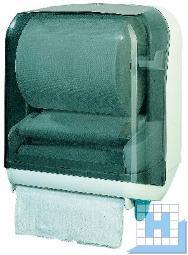 Handtuchrollen-Spender weiß Rauchglasabdeckung Hebelmechanik, H370mmxB320mmxT220mm (HT 1)