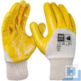 Basic Nitril-Handschuh, gelb, 3/4 beschichtet, Gr. 8, Strickbund
