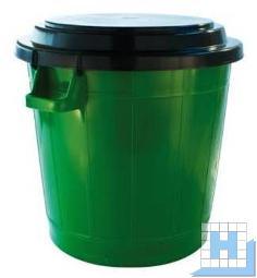 Universalbehälter 70 L grün Ø50cm, Höhe 54cm, Deckel schwarz H=54cm