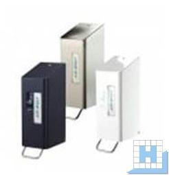 WC-Sitzreiniger, Edelstahl gebürstet und transparent pulverbeschichtet, mit 0,6-L-Behälter, H x B x T:288 x 97 x 142 mm